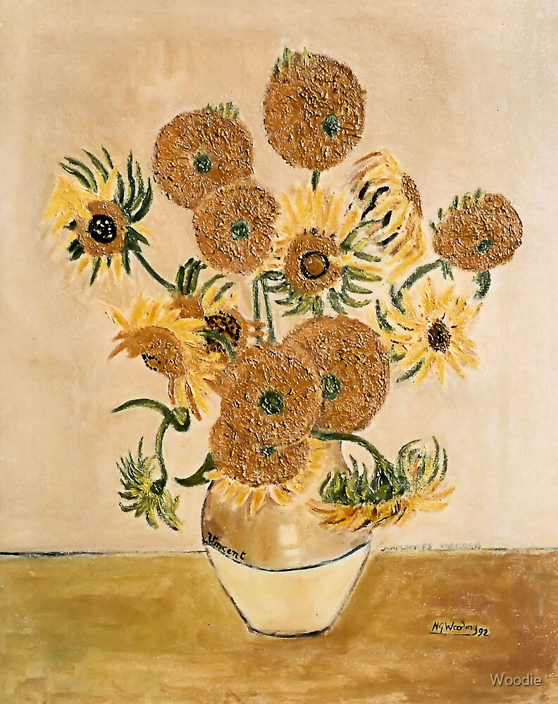 Sun Flowers in acrylic by Woodie