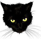 Beautiful Black Cat Face by Jade Damboise Rail