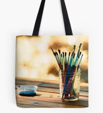 Colorful Paint Brushes in a Glass Jar Tote Bag