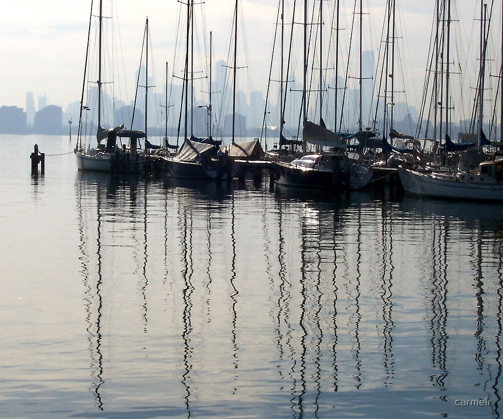 Masts & City Skyline from Williamstown  by carmelr