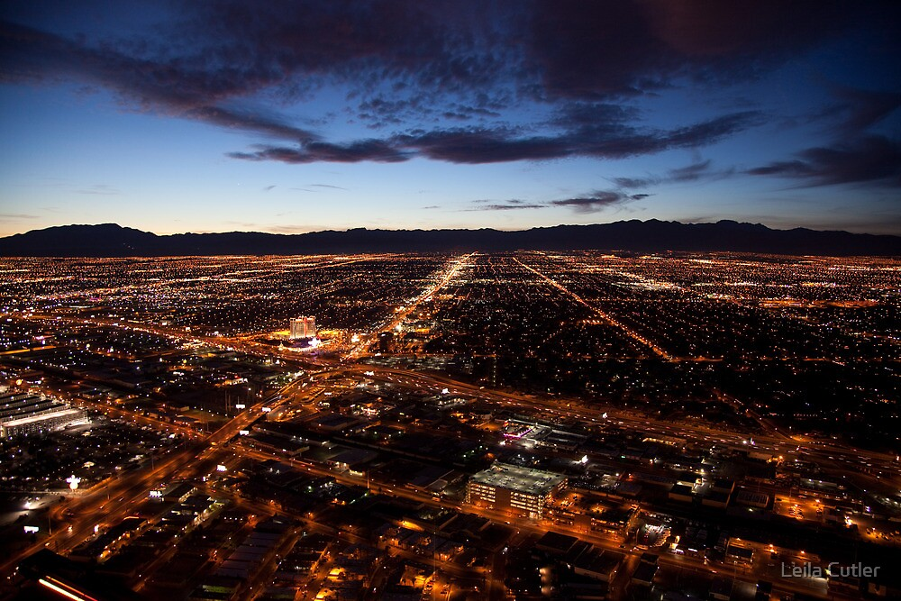 View of Las Vegas at night by Leila Cutler