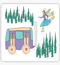 Girl runs to the bus in the winter forest Sticker