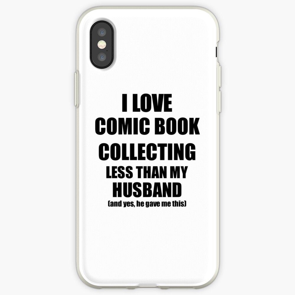 Comic Book Collecting Wife Funny Valentine Gift Idea For My Spouse From Husband I Love Vinilos y fundas para iPhone