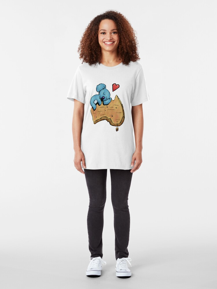 Alternate view of Cute Sleeping Koala on Australia Slim Fit T-Shirt