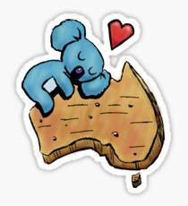 Cute Sleeping Koala on Australia Sticker