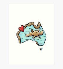 Cute Swimming Platypus in Australia Art Print