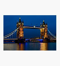 Tower Bridge during the blue hour, London Photographic Print