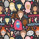 Feminism illustration. Girl support girls by Dinkoobraz