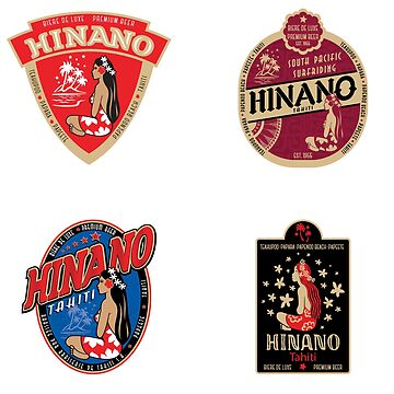 Vintage Hinano Tahiti Label Sticker Pack by IntrepiShirts