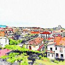 View of Scalea with the watchtower by Giuseppe Cocco
