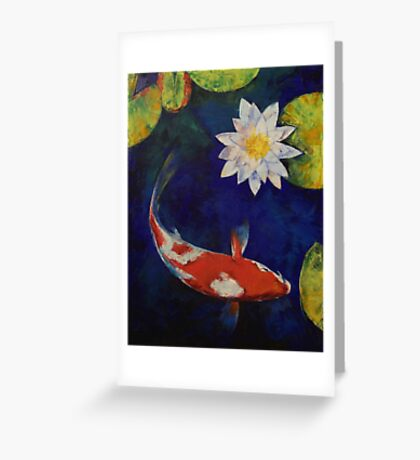 Kohaku Koi and Water Lily Greeting Card