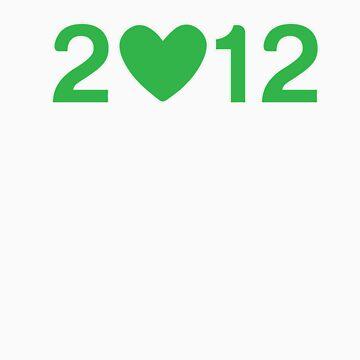 2012 Heart - Green  by opoeian