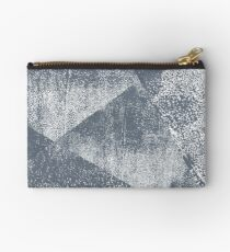 Dark Blue Gray and White Geometric Ink Texture  Studio Pouch