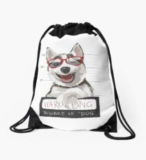 funny Husky In Jail Drawstring Bag