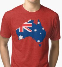 Australia Flag and Map Tri-blend T-Shirt