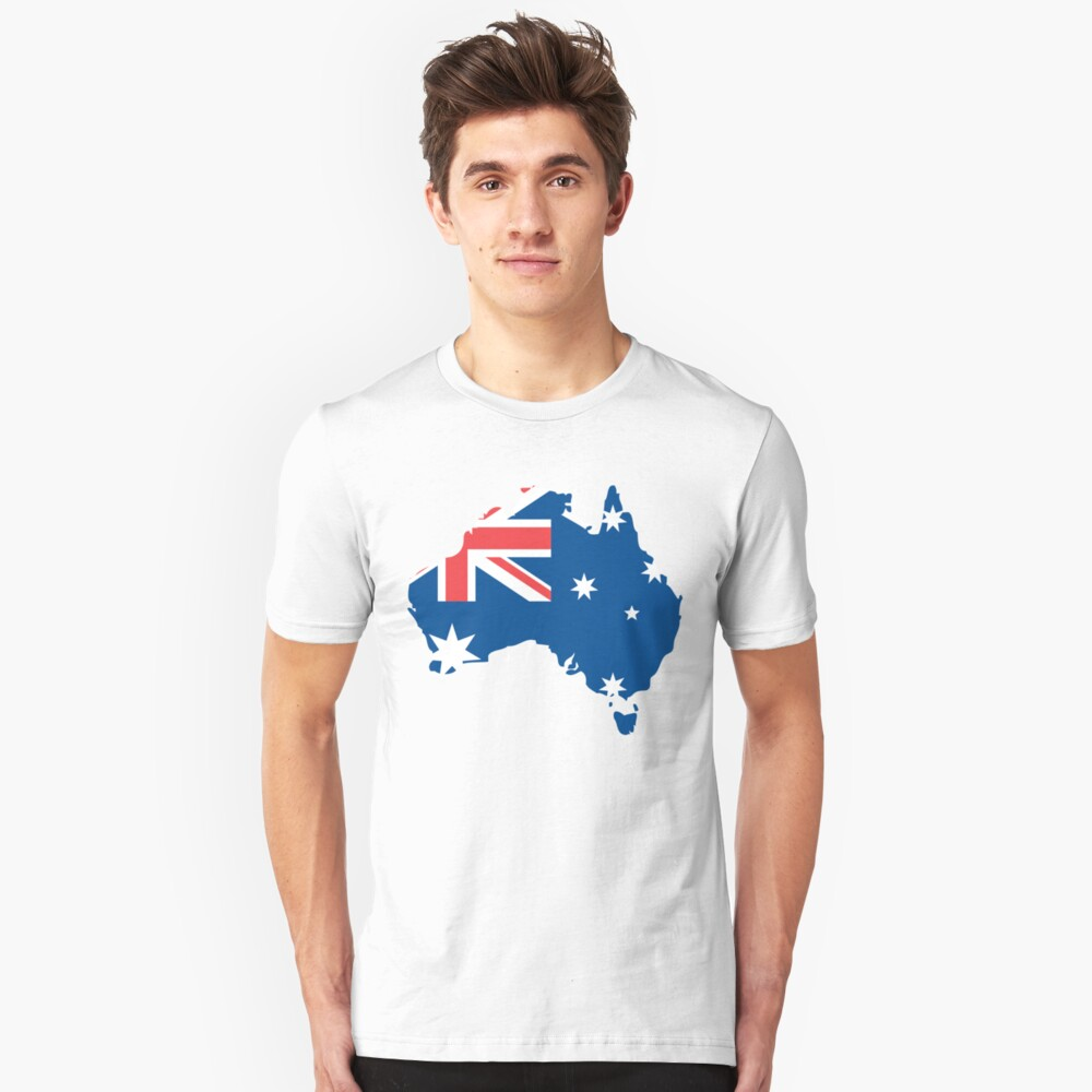 Australia Flag and Map Unisex T-Shirt Front