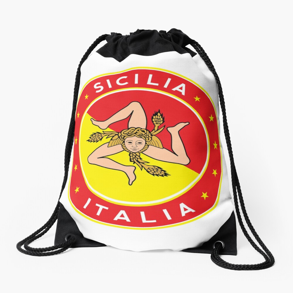 Sicilia, Italia, Sicily, Italy, sticker with flag colors Drawstring Bag