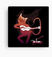 cute singing cat with a guitar after hunting Canvas Print