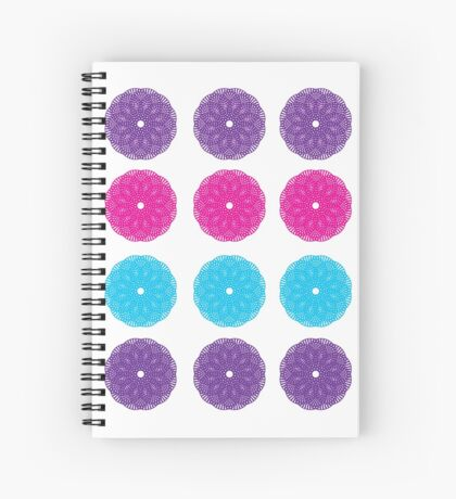 Geometric spiral pattern blue pink purple Spiral Notebook