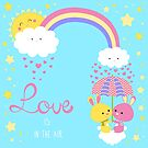 love is in the air kissing rabbits by Angela Sbandelli