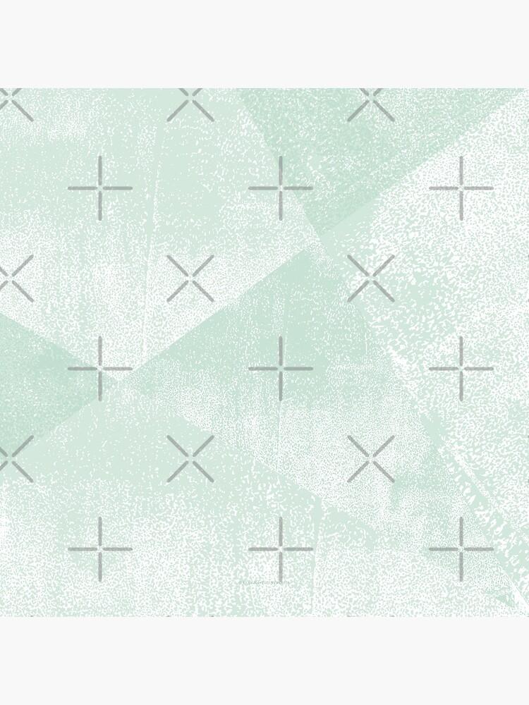 Minze grüne und weiße geometrische Dreiecke Linostrukturdruck von itsjensworld