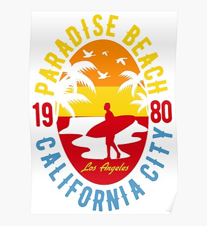 Paradise Beach Surf's Up! California 1980 Poster