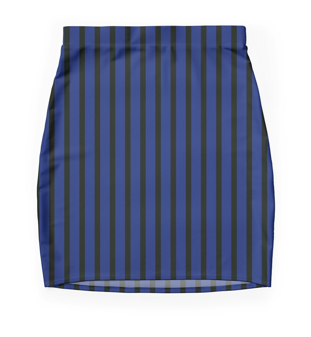 Slimming Vertical Striped Skirt Blue Black