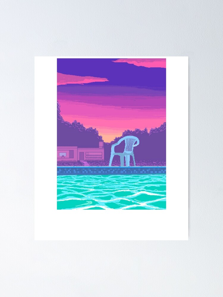 Vaporwave Aesthetic T Shirt Pool Summer Palm Trees Chill Lo Fi Hip Hop Poster