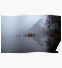 Reflections on the loch in the fog 1 Poster