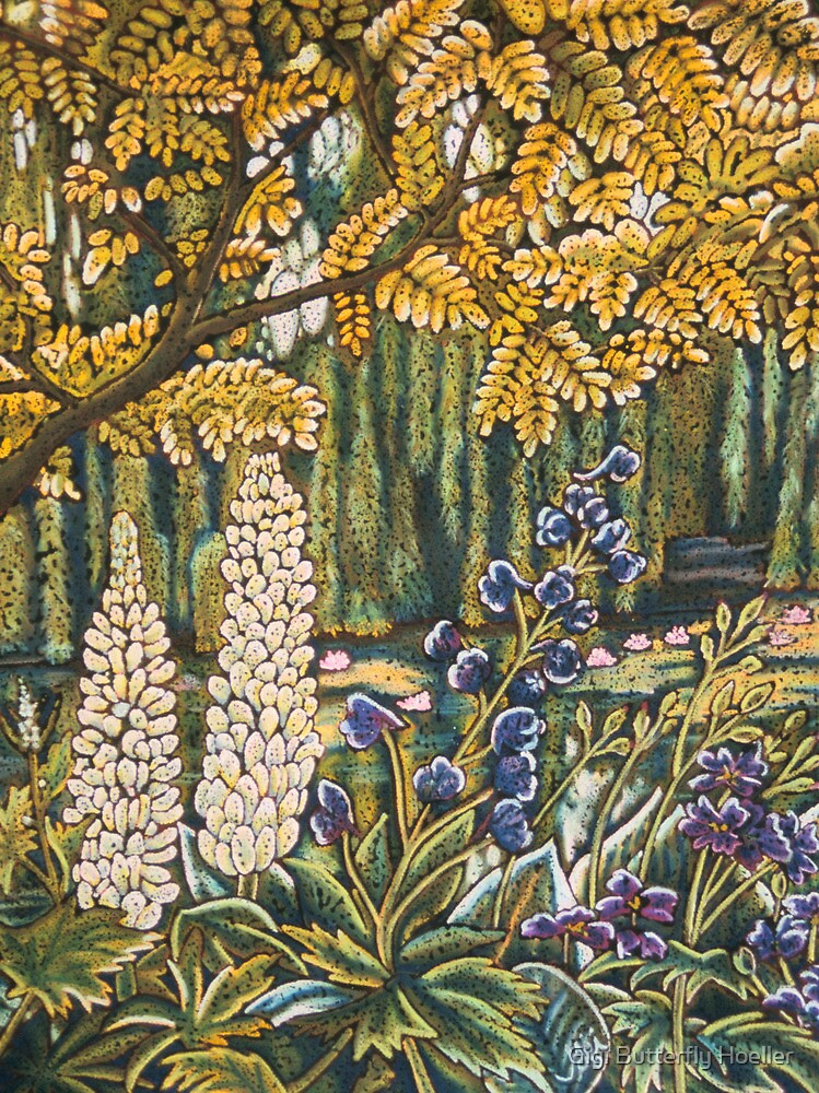 White Lupins in Monets Garden by Gigi Butterfly Hoeller