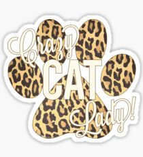 Crazy Cat Lady! Leopard Print Paw Print with Ivory Lettering Sticker