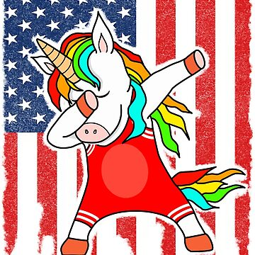 Funny Wrestler US Flag Dabbing Unicorn by Mmastert