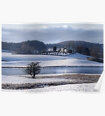 Balmaghie Church Across Loch Ken in the Snow  Poster