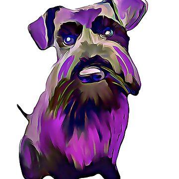 Purple Schnauzer Art by kjhart8