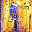 Street lamp lit up in an alley in the historic center of Scalea by Giuseppe Cocco