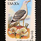 1982 20c Utah State Bird & Flower Postage Stamp by Chris Coates