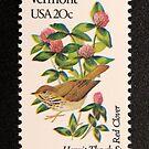 1982 20c Vermont State Bird & Flower Postage Stamp by Chris Coates