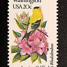 1982 20c Washington State Bird & Flower Postage Stamp by Chris Coates