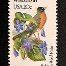 1982 20c Wisconsin State Bird & Flower Postage Stamp by Chris Coates