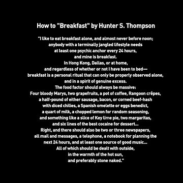 How to Breakfast by Hunter S. Thompson by metropol