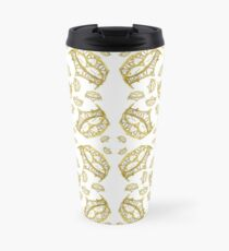 Queen of Hearts gold crown tiara tossed about by Kristie Hubler Travel Mug