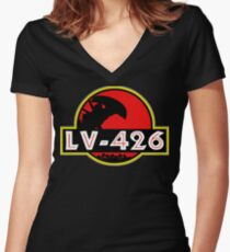 Xenomorph Park - LV 426.  Women's Fitted V-Neck T-Shirt