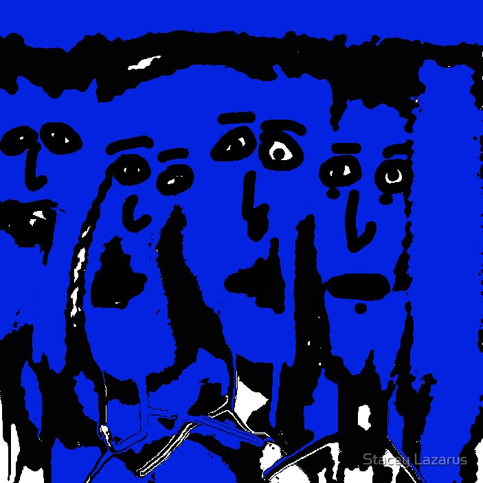 1970's Punk Rockers in blue by Stacey Lazarus