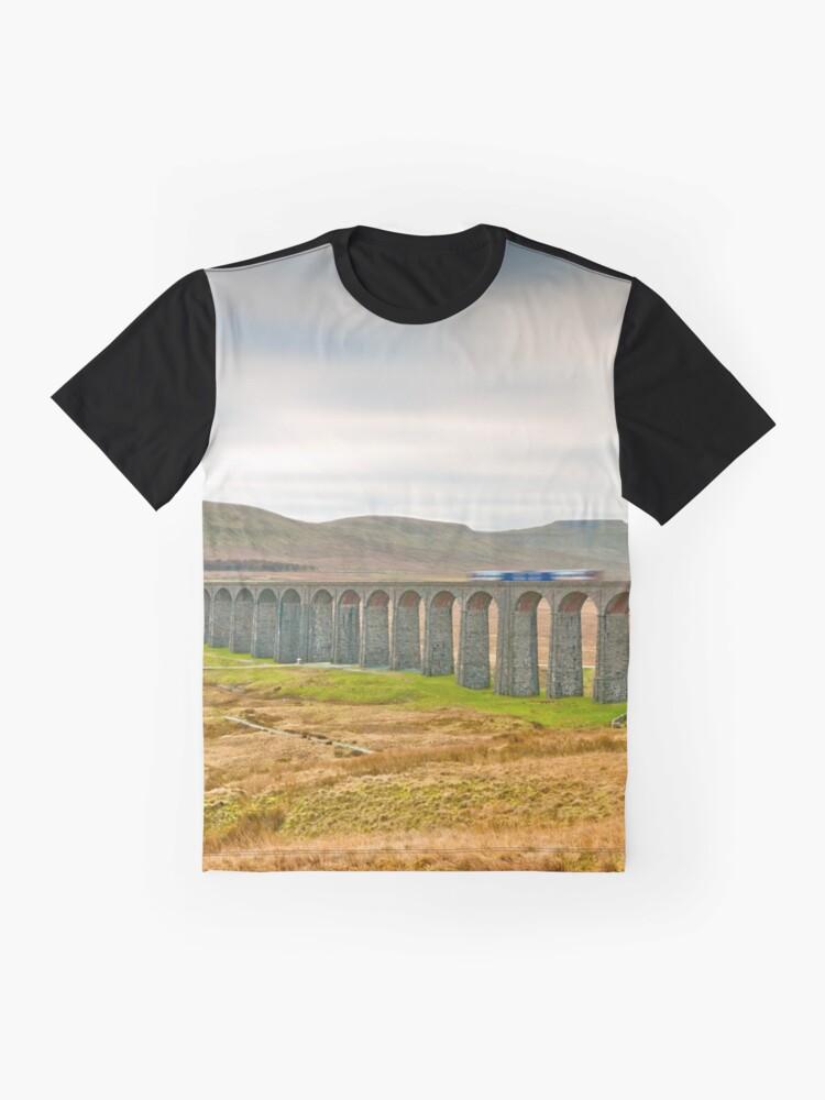 Alternate view of Ribblehead, Ingleborough and Train Graphic T-Shirt