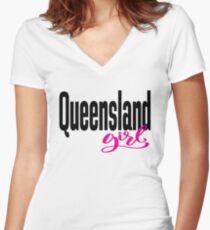 Queensland Girl Australia Raised Me Women's Fitted V-Neck T-Shirt