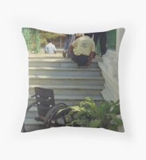 Climbing stairs the hard way Throw Pillow