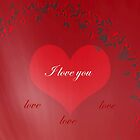 Red Love Valentines Day Card by hurmerinta