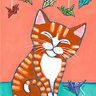 Happy Ginger Tabby and Paper Cranes by Ryan Conners