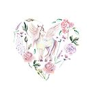 Watercolor heart with flowers and pegasus by Dinkoobraz