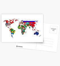 World Flags Map Postcards
